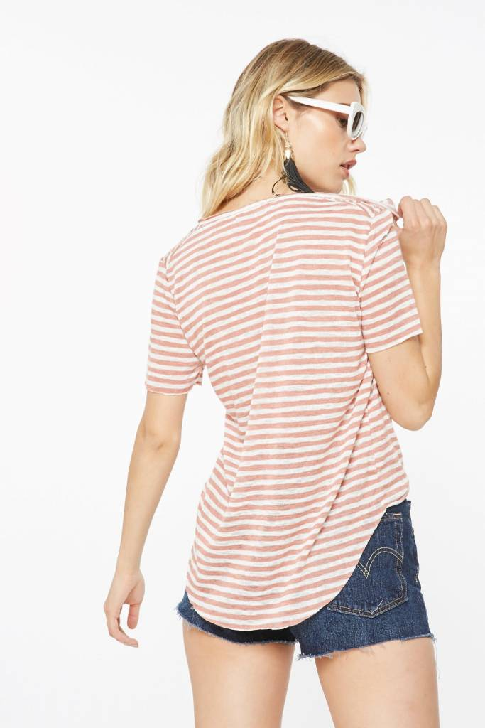 Project Social T Suzie Shirtail Tee Blush/Ivory
