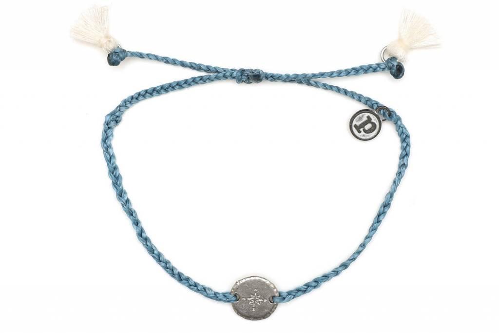 Pura Vida Silver Compass Blue Bracelet