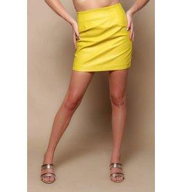 MINKPINK PU Mini Chartreuse Skirt
