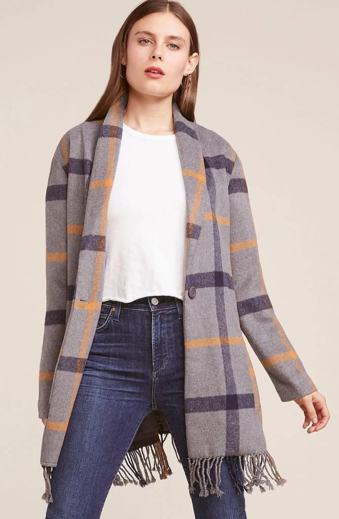 BB Dakota Elementary Fringe Plaid Coat