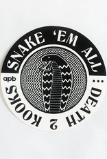 APB Skateshop APB Snake Em All B&W Circle Sticker