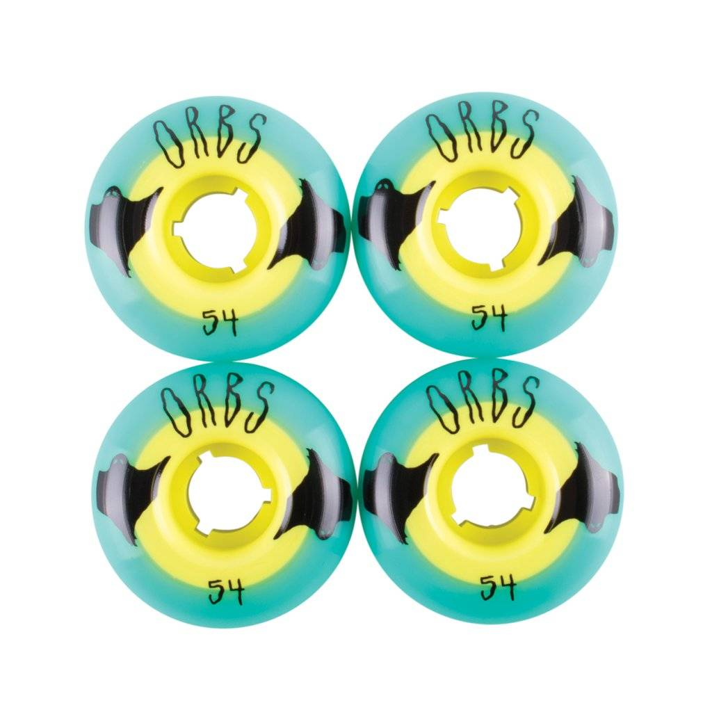Welcome Skateboards Orbs Poltergeists Teal/Yellow 54mm