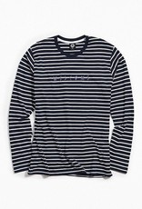 Welcome Skateboards Scrawl Embroidered Striped Knit Navy/White L/S