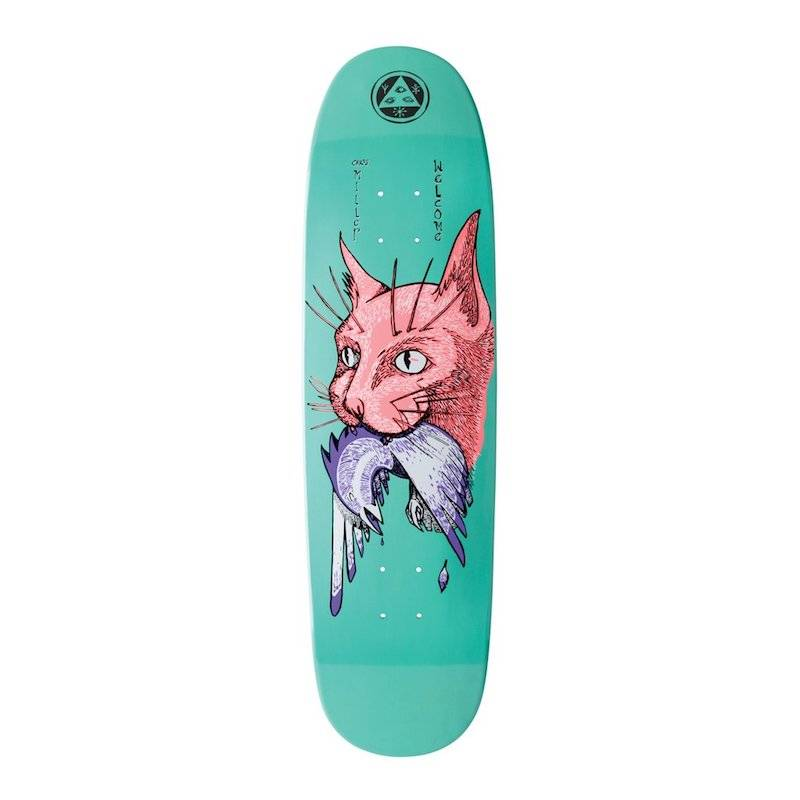 Welcome Skateboards Miller Cat Gets Bird on Catblood 2.0 Teal Dip 8.75""
