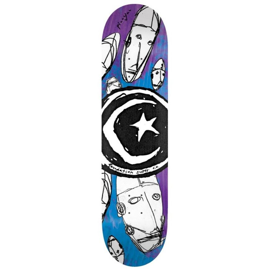 "Foundation Skateboards Star & Moon Robots 7.75"""