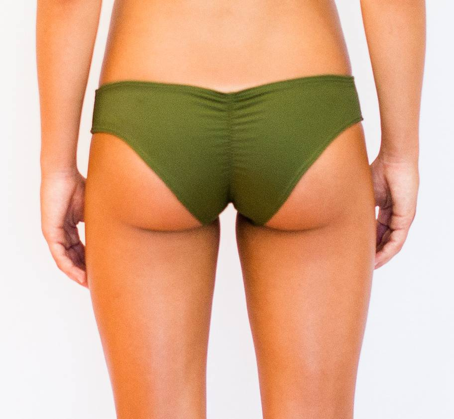 Pualani Scrunch Bootie Olive Solid