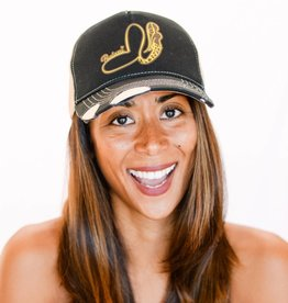Pualani Snap Back Trucker Hat Black