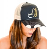 Pualani Snap Back Trucker Hat Black