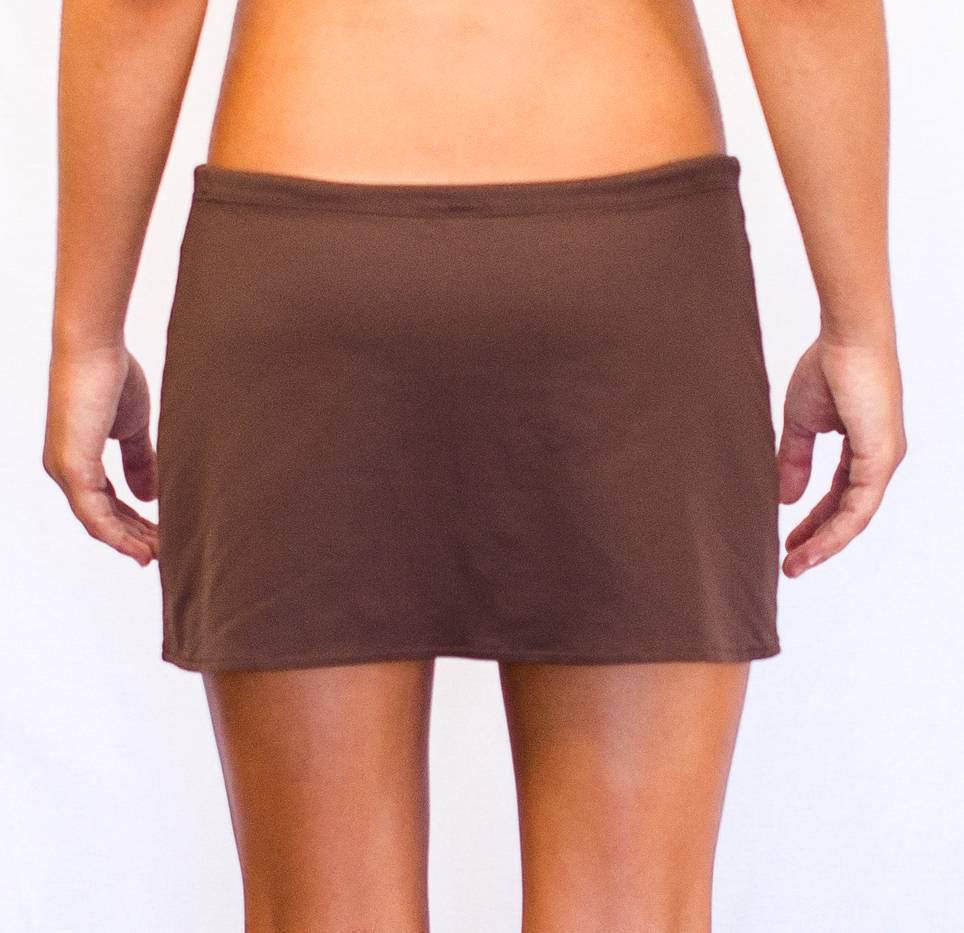 Pualani Short Drawstring Skirt Chocolate Solid