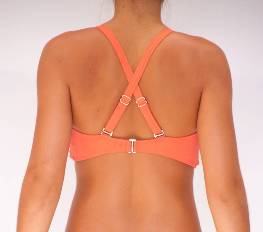 Pualani D Cup Bandeau Coral Solid