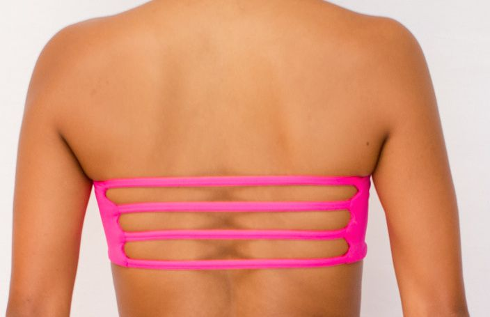 Pualani Reversible Bandeau Hot Pink Solid