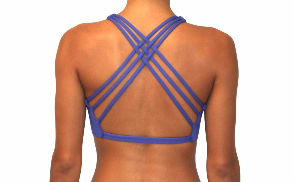 Pualani Reversible Fitness Surf Top Blue Violet Solid