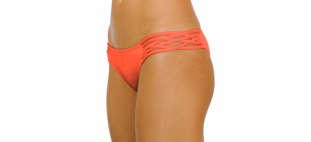 Pualani Skimpy Love with Braided Sides Coral Solid