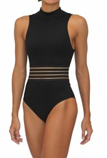 High Neck One Piece Black Solid