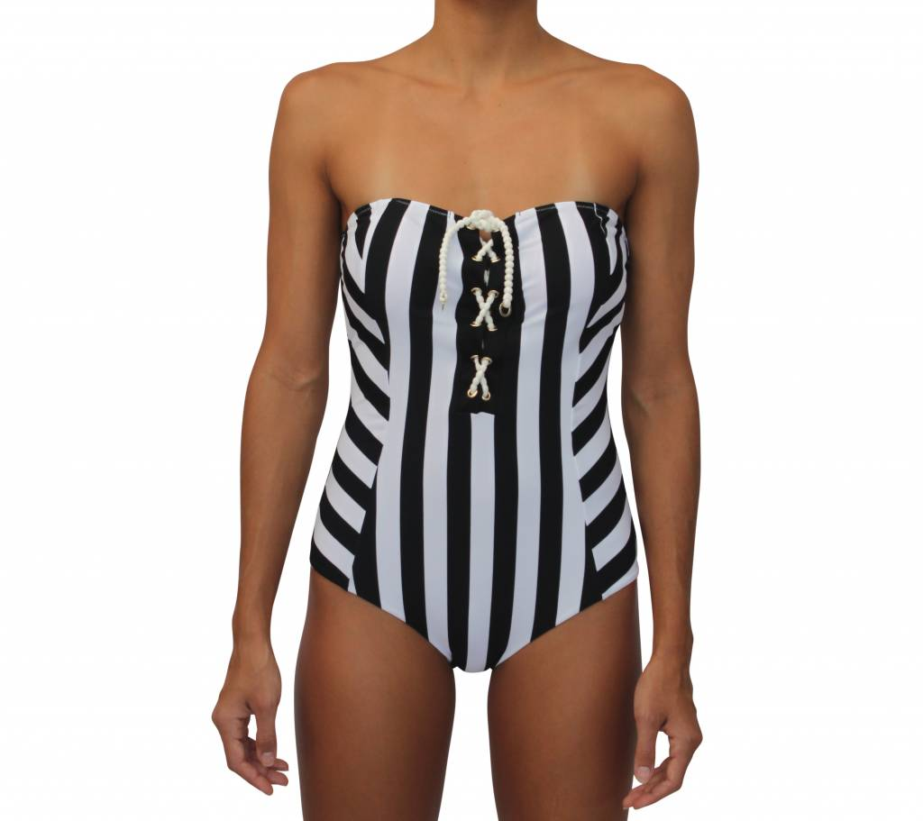 Lace Up One Piece Black and White Stripe