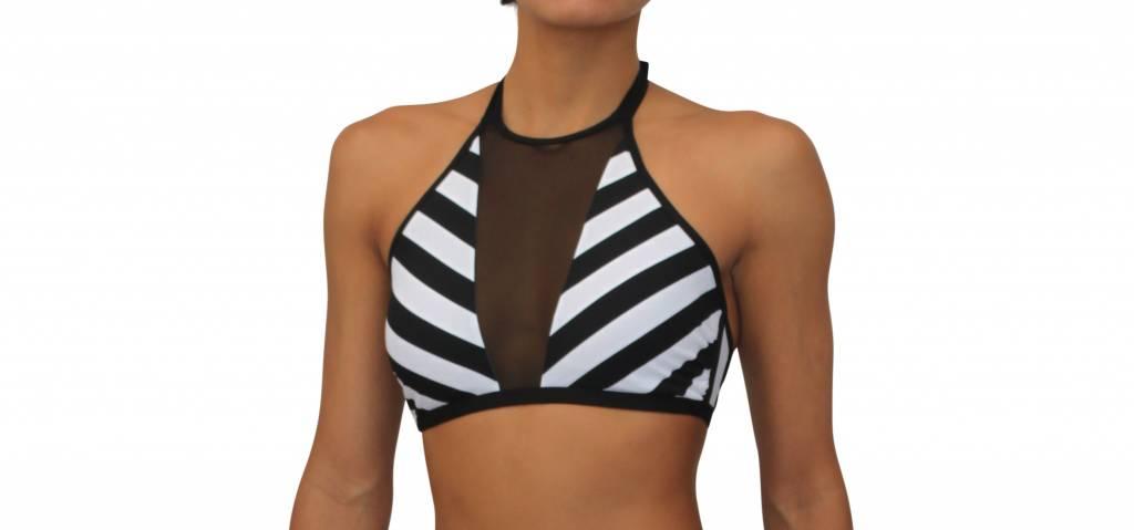 High Neck Mesh Halter Black and White Stripe