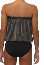 Bandeau One Piece Glitter w/ Black Solid