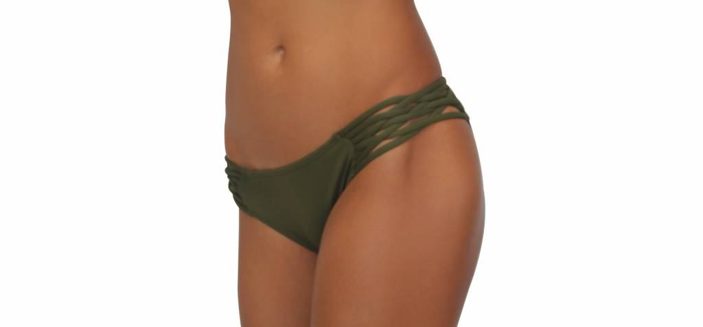 Pualani Scoop w/ Side Strings Olive Solid
