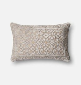 Loloi Rugs Silver Taupe Applique Pillow