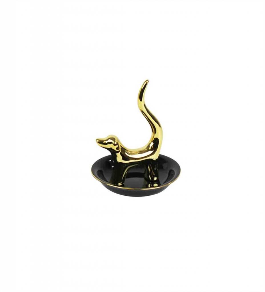 Ceramic Dog Ring Holder Gold