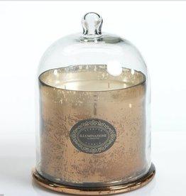 Zodax Mercury Glass Jar Candle with Cloche Antique Gold Medium
