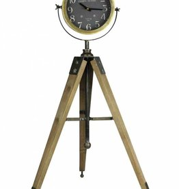 Clock on Wood & Metal Tripod Stand