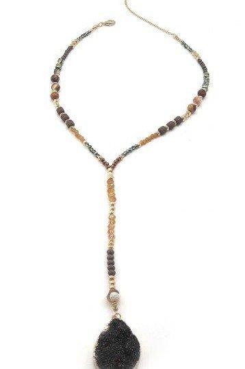 Druzy Drop Long Beaded Necklace