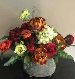 Fall Blooms in Rustic Tin Container
