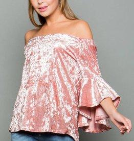 Velvet Bell Sleeve Off the Shoulder Top - Pink