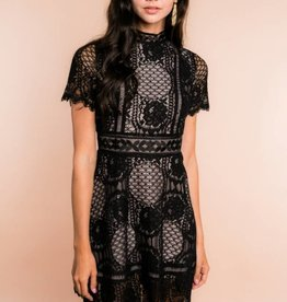 BB Dakota Aria Lace Short Sleeve Dress Black