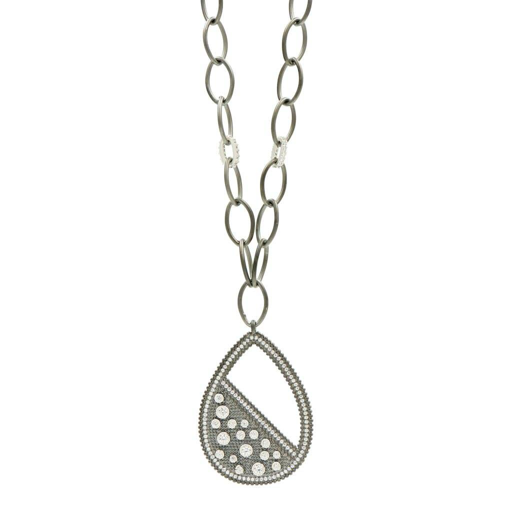 Freida Rothman Industrial Finish Teardrop Large Pendant Necklace