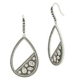 Freida Rothman Industrial Finish Pavé Open Teardrop Earring