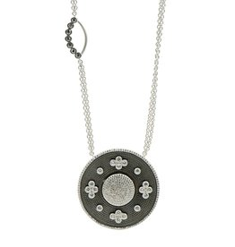 Freida Rothman Industrial Finish Large Oval Double Sided Pendant