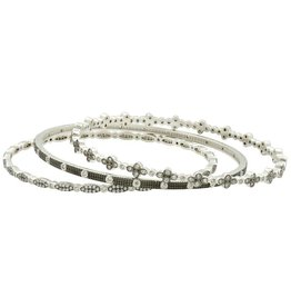 Freida Rothman Industrial Finish Bezel Bangle Stack