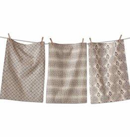 Henna Block Print Dish Towel Set/3