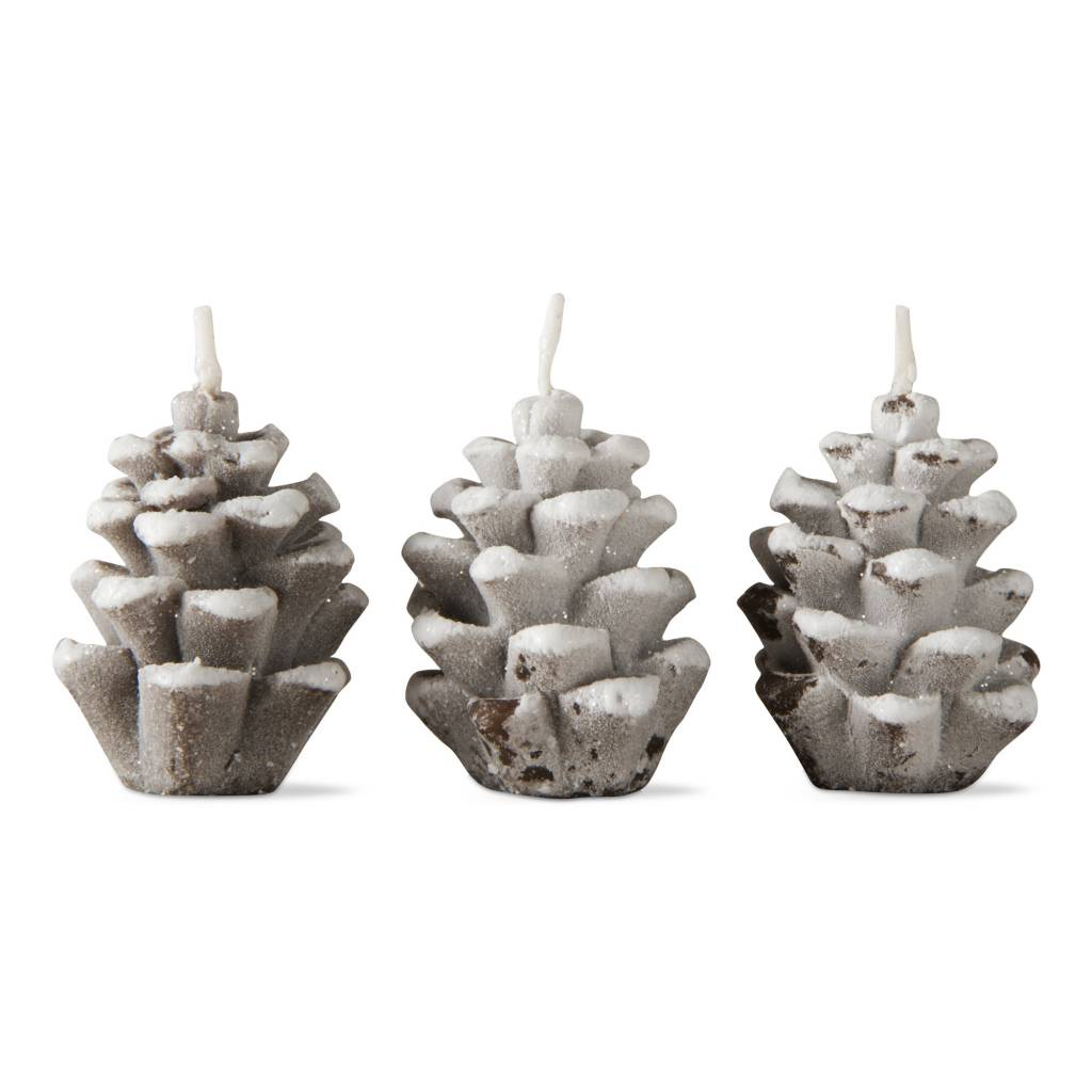 Frosted Pine Cone Candle Set/3