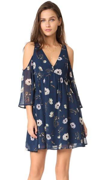 BB Dakota Rylie Printed Chiffon Dress Imperial Blue