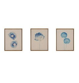 Blue Print Botanicals Framed 3 Piece Printed Canvas On Linen