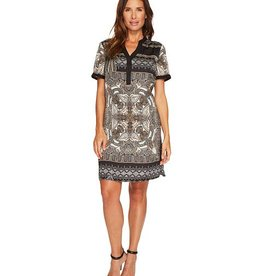 Tribal Printed Shirt Dress Black