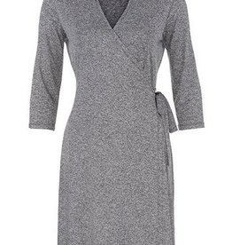 Tribal Wrap High Collar Dress H Charcoal