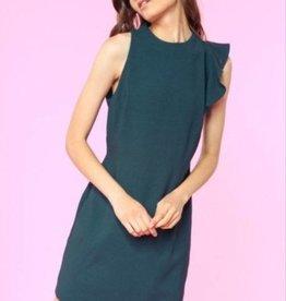 Assymetric Ruffle Sheath Dress