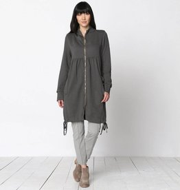 XCVI Funnel Neck Long Coat Oak Moss