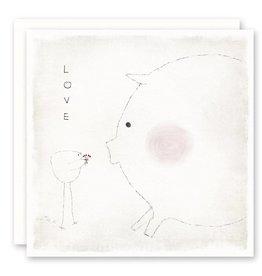 'LOVE - blushing pig' Greeting Card