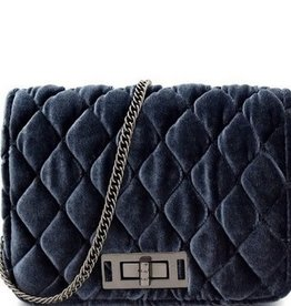 Quilted Velvet Crossbody Shoulder Bag