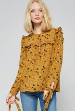 Floral Blouse with Ruffle Trim