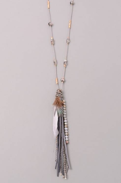 Feather Accent Long Bead Necklace - Grey