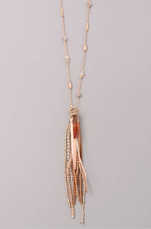 Feather Accent Long Bead Necklace - Tan