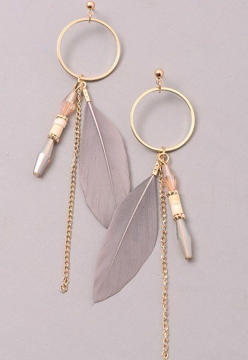 Earring with Feather Drop