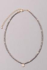 Brass Seed Bead Choker Necklace w Zirconia Drop