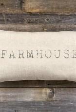 "'Farmhouse' Natural Linen Lumbar Pillow 25 x 14"""